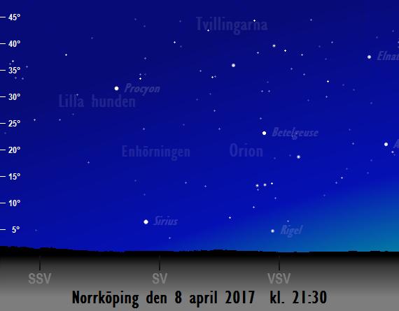 Himlen mot sydväst den 8 april 2017 kl. 21:30