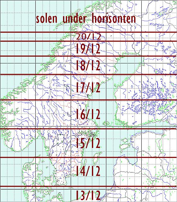 Datum för årets tidigaste solnedgång för norra Europa