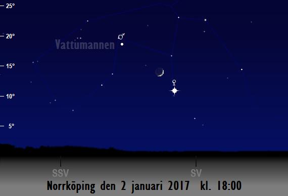Månens skära nära Venus sedd från Norrköping den 2 januari 2017 kl. 18:00