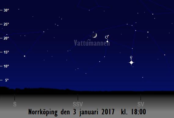 Månens skära nära Mars sedd från Norrköping den 3 januari 2017 kl. 18:00
