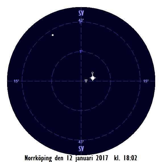 Venus rätt nära Neptunus den 12 januari 2017 kl. 18:02 (sedd från Norrköping)