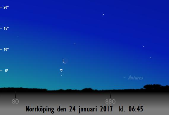 Månens skära nära Saturnus sedd från Norrköping den 24 januari 2017 kl. 06:45