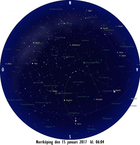 Stjärnkarta som gäller i mitten på månaden vid den astronomiska gryningens början