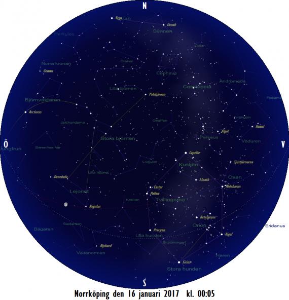 Stjärnkarta som gäller i mitten av månaden mitt i natten