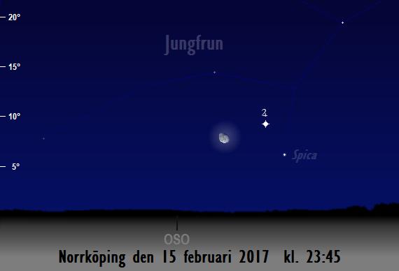 Månen nära Jupiter sedd från Norrköping den 15 februari 2017 kl. 23:45