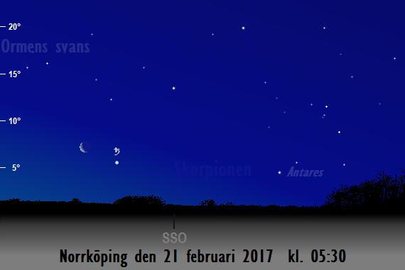 Månen nära Saturnus sedd från Norrköping den 21 februari 2017 kl. 05:30