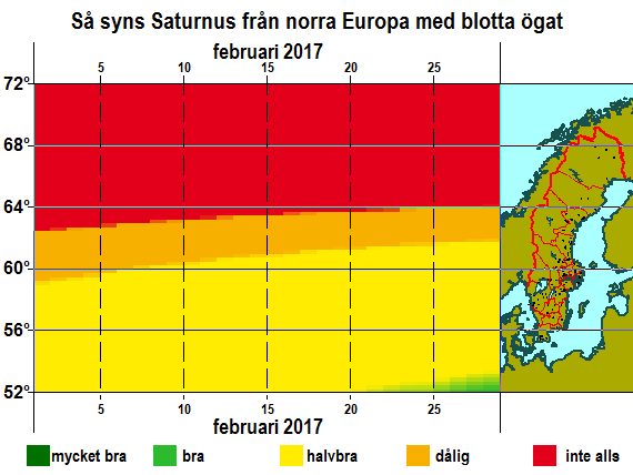 Så syns Saturnus från norra Europa med blotta ögat i februari 2017