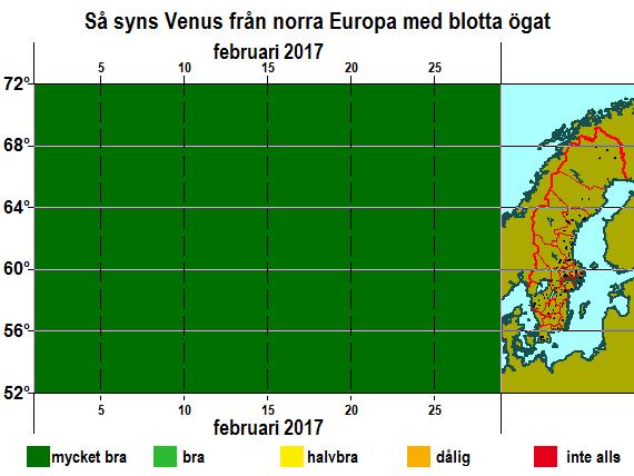 Så syns Venus från norra Europa med blotta ögat i februari 2017