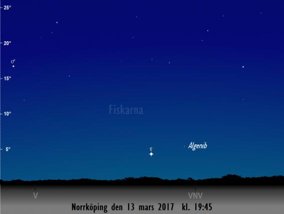 Venus nära Algenib - stjärnan nere till vänster i Pegasuskvadraten sedd från Norrköping den 13 mars 2017 kl. 19:45.