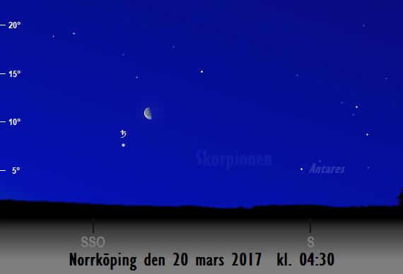 Månen nära Saturnus sedd från Norrköping den 20 mars 2017 kl. 04:30