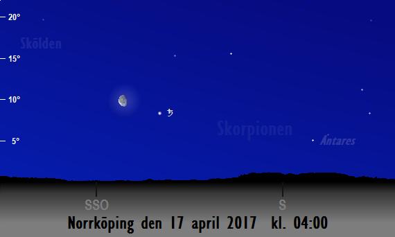 Månen nära Saturnus sedd från Norrköping den 17 april 2017 kl. 04:00