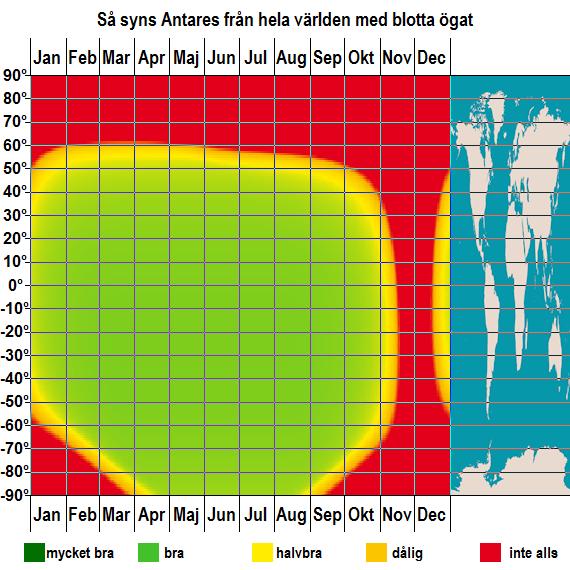 Så syns Antares från hela världen med blotta ögat under hela året