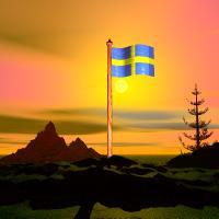 Svensk flagga vid solnedgången