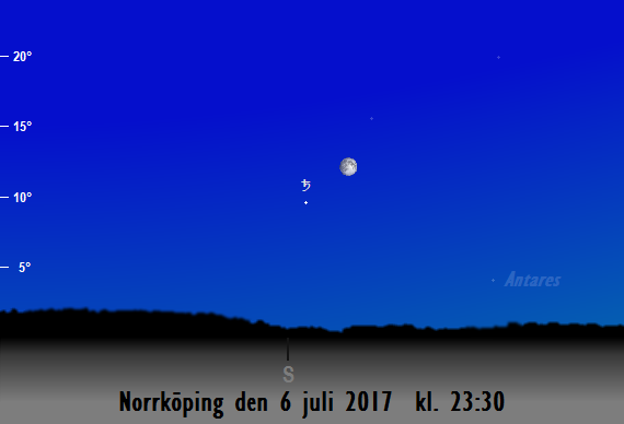 Månen nära Saturnus sedd från Norrköping den 6 juli 2017 kl. 23:30