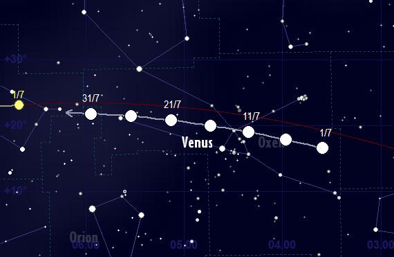 Venus skenbara färd framför stjärnhimlen i juli 2017