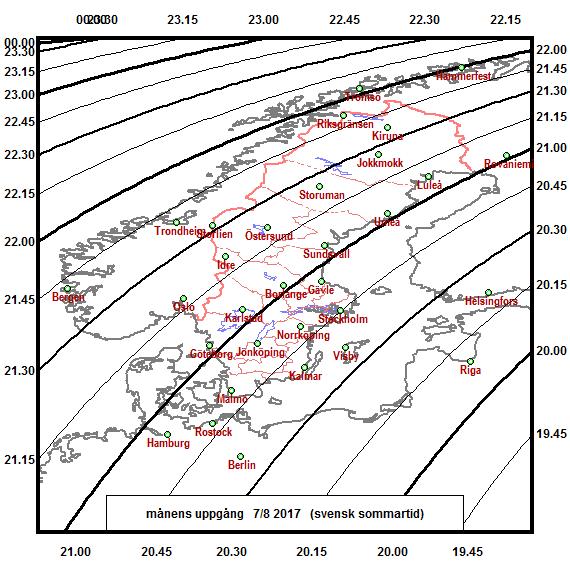 2017-08-07 Tidpunkter för månens uppgång över norra Europa