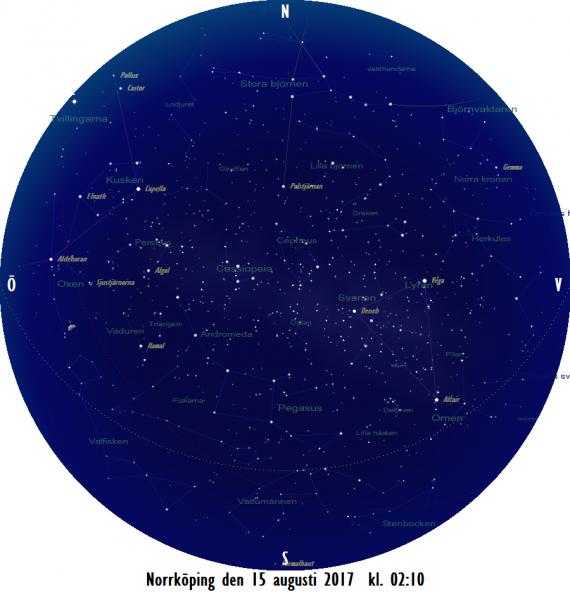 Stjärnkarta som gäller i mitten på månaden när det fortfarande är nästan helt mörkt (solen 16 grader under horisonten)