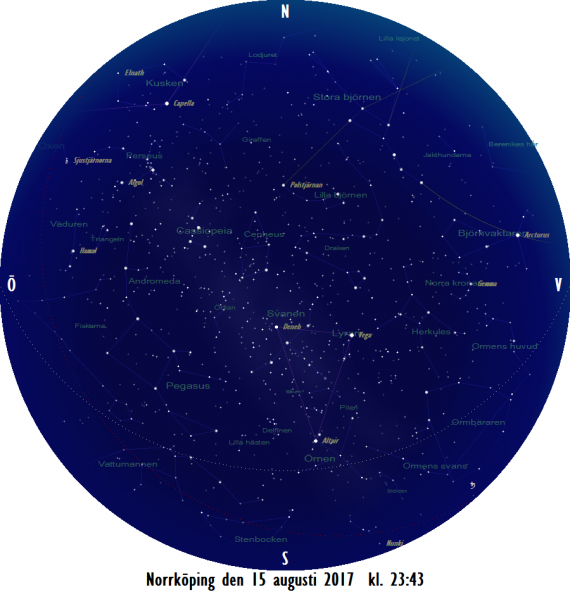 Stjärnkarta som gäller i mitten på månaden när det har blivit nästan helt mörkt (solen 16 grader under horisonten)