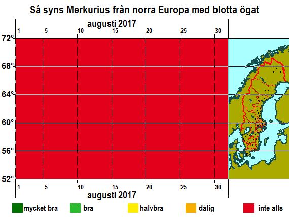 Så syns Merkurius från norra Europa med blotta ögat i augusti 2017