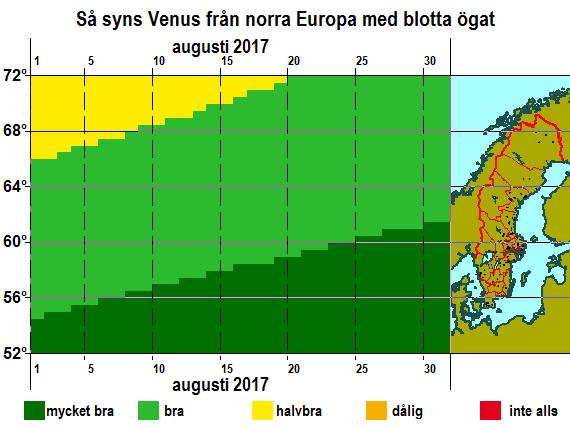 Så syns Venus från norra Europa med blotta ögat i augusti 2017
