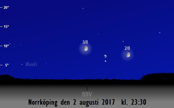 Månen nära Saturnus sedd från Norrköping den 2 och 3 augusti 2017 kl. 23:30