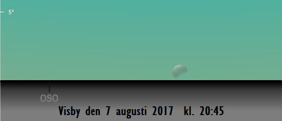 2017-08-07 kl. 20:45 Fullmånen sedd från Visby. Den är då delvis förmörkad.