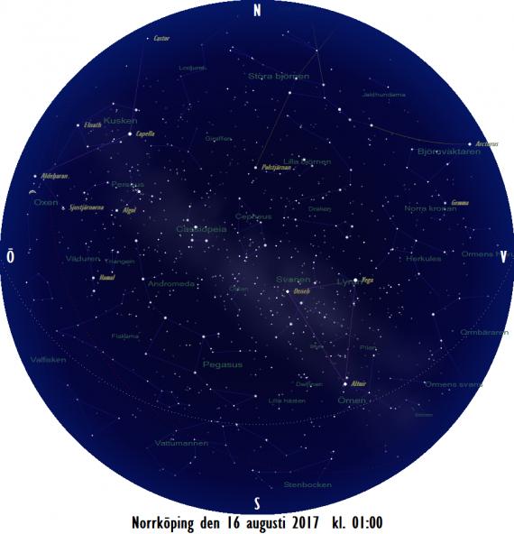 Stjärnkarta som gäller i mitten på månaden mitt i natten
