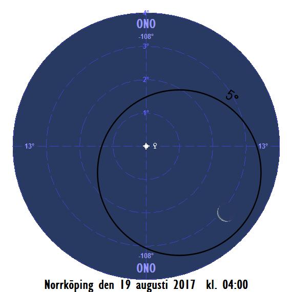 Månskäran nära Venus på morgonen den 19 augusti 2017 kl. 04:00.