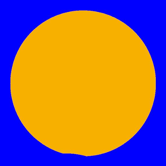 2017-08-21 Solförmörkelsens maximum sedd från Nordkoster just när solens nedre kant berör horisonten