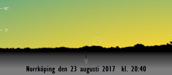 Månens första visibilitet på kvällen den 23 augusti 2017