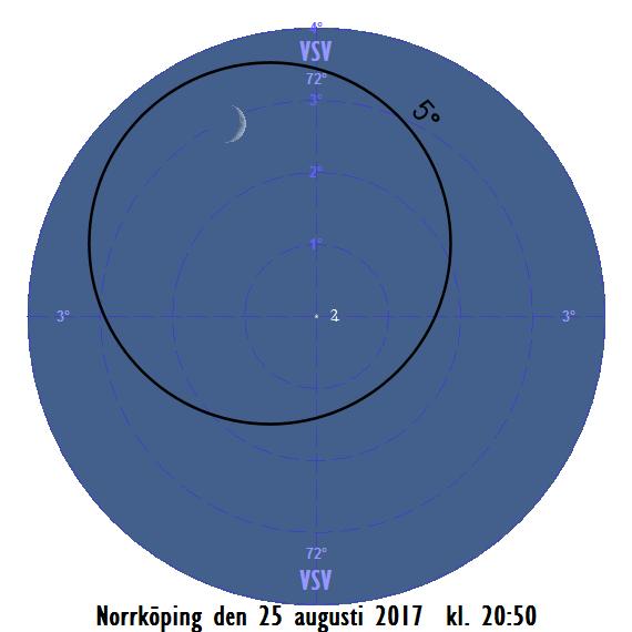 Månen nära Jupiter den 25 augusti 2017 kl. 20:50