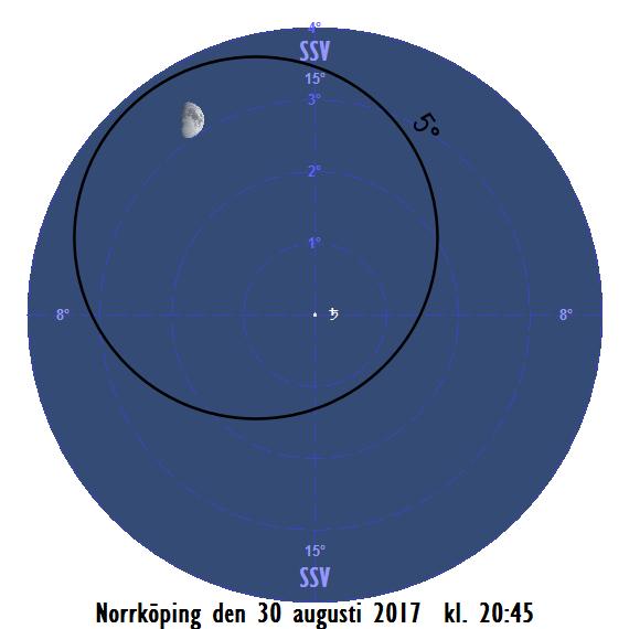 Månen nära Saturnus på kvällen den 30 augusti 2017 kl. 20:45.