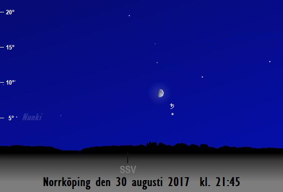 Månen nära Saturnus sedd från Norrköping den 30 augusti 2017 kl. 21:45