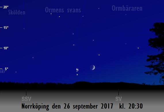 Månen nära Saturnus sedd från Norrköping den 26 september 2017 kl. 20:30.