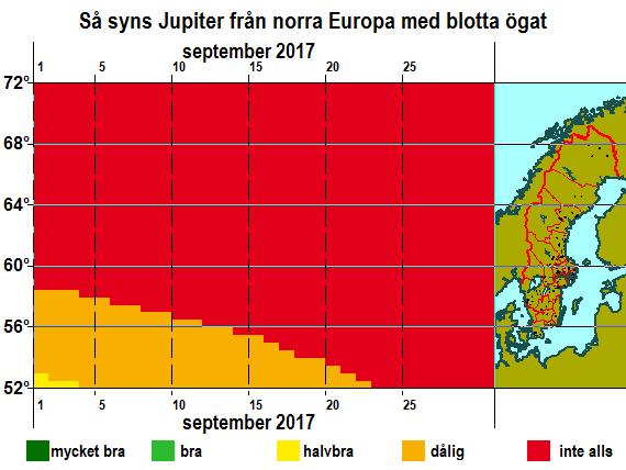 Så syns Jupiter från norra Europa med blotta ögat i september 2017
