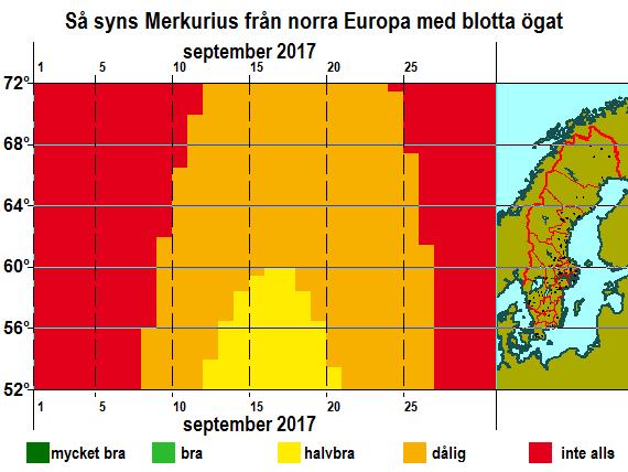 Så syns Merkurius från norra Europa med blotta ögat i september 2017