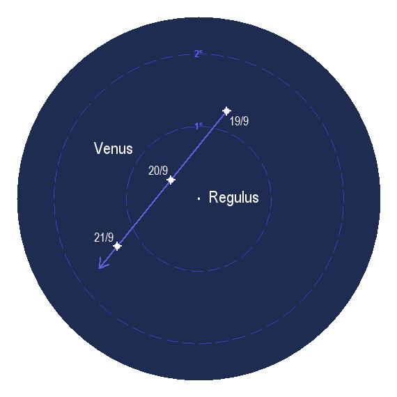 Venus passerar nära Regulus kring den 20 september 2017.