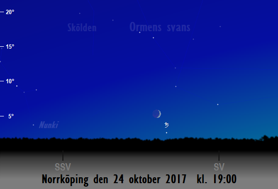 Månen nära Saturnus sedd från Norrköping den 24 oktober 2017 kl. 19:00.