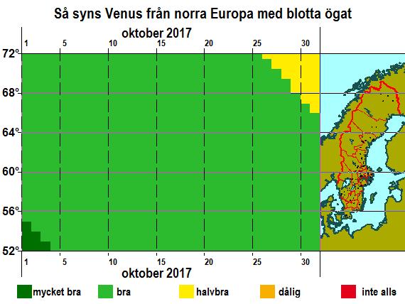Så syns Venus från norra Europa med blotta ögat i oktober 2017
