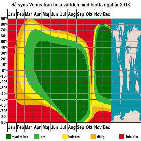 Så syns Venus från hela jorden med blotta ögat under året 2018