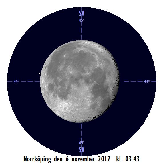 Månen och Aldebaran den 6 november kl. 03:43 - strax innan månen ockulterar stjärnan