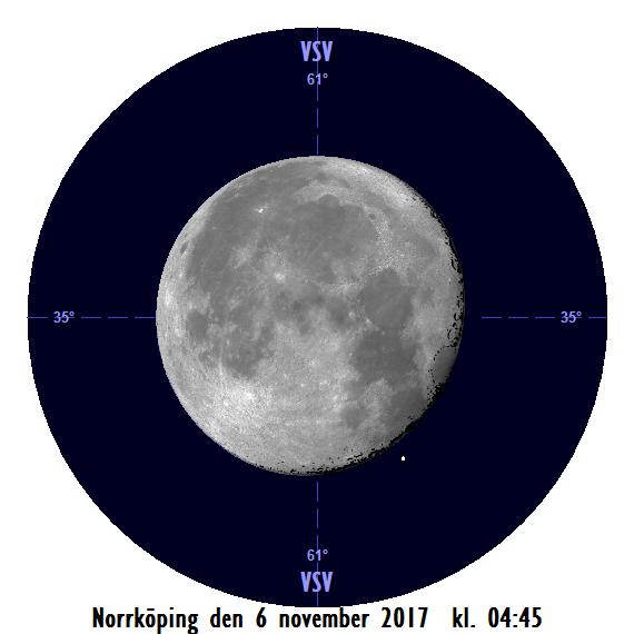 Månen och Aldebaran den 6 november kl. 04:45 - strax efter att månen har slutat ockultera stjärnan