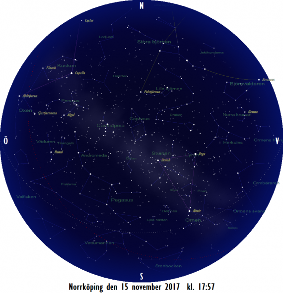 Stjärnkarta som gäller i mitten på månaden vid den astronomiska skymningens slut