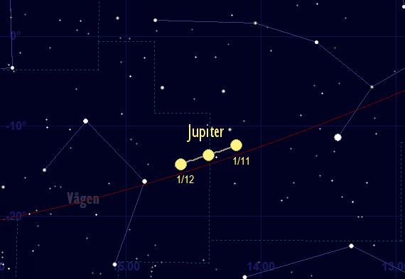 Jupiters bana framför stjärnhimlen i november 2017