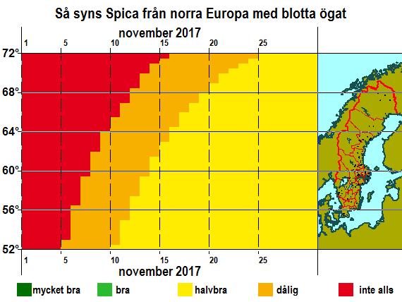 Så syns Spica från norra Europa med blotta ögat i november 2017