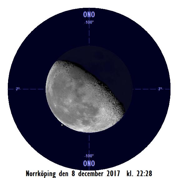 Månen och Regulus den 8 december kl. 22:28 - strax innan månen ockulterar stjärnan