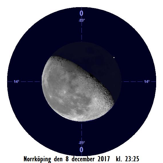 Månen och Regulus den 8 december kl. 23:25 - strax efter att månen har slutat ockultera stjärnan