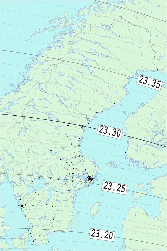 2017-12-08 Tiden då månen slutar ockultera Regulus sedd från Sverige
