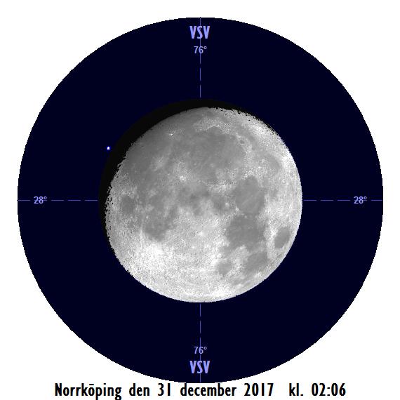 Månen och Aldebaran den 31 december kl. 02:06 - strax innan månen ockulterar stjärnan