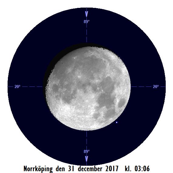 Månen och Aldebaran den 31 december kl. 03:06 - strax efter att månen har slutat ockultera stjärnan